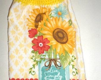 Blow Out Sale Sunflower Towel, Hanging Towel, Crochet Top Towel, Live Simply, Cotton Towel, Kitchen Dish Towel, Hanging Hand Towel, Flower T
