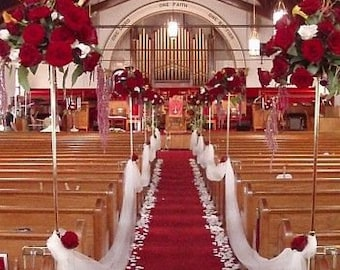 Red Aisle Runner, Solid Red, Sizes 25 30 35 40 45 50 ft, Wedding, Bridal, Ready to ship