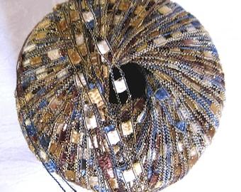 Ladder Ribbon Glitter yarn, BLUE SADDLE, railroad yarn, blue tan black 60
