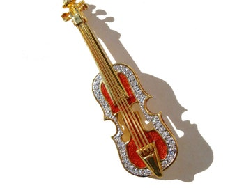 Vintage Joan Rivers Violin Brooch Cello Viola Guitar Red Enamel & Rhinestone Pin