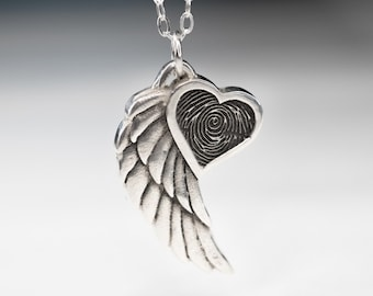 Angel Wing Fingerprint  Necklace With Heart Pendant  Winged Heart Sterling Silver