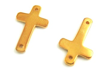 Sideways Cross Connectors-Vermeil,24K Gold Plated over 925 Sterling Silver-Jewelry Findings(16.5mm by 10mm -25 pcs) -Save 15% -SKU:201021-VM