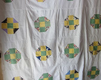 """Antique Vintage 1930s Octagon Applique CROSS Quilt TOP 67x85"""" Hand Stitched Quilting Sewing To Finish or Repurpose Crafts Pillows"""