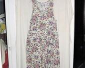 Vintage 90s Pansy Flower Print Cotton Jumper Ladies XL Full Skirt