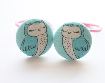Sleepy OWLS-------2 ponytail holder set