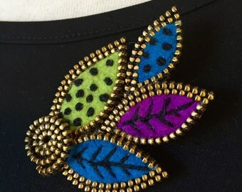 Felt and zipper multi leaf brooch