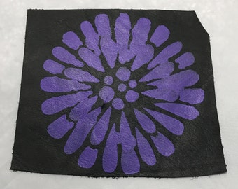 Hand PAINTED Black Cow Hide Leather Piece with Purple FLOWER
