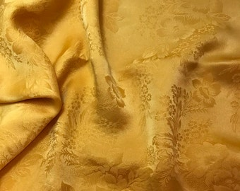 Hand Dyed GOLDEN POPPY FLORAL - Silk Jacquard Fabric - 1 Yard