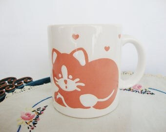 vintage cat mug waechtersbach spain pink kitty coffee tea cup