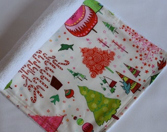 Candy Colored Christmas Trees Holiday Baby Burp Cloth - Baby's First Christmas