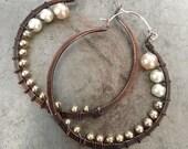 Copper Hoop Earrings / Urban Tribal /Boho / Pearl Earrings / Large Hoop Earrings / Rustic Jewelry / Daniellerosebean / Big Hoops / Copper