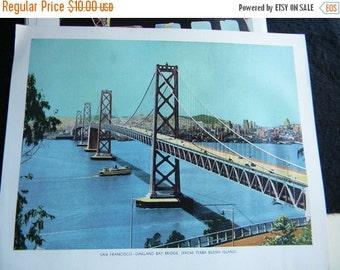 Holiday Sale Two Vintage California Bridge Book Plates Golden Gate and Oakland Bay Bridge