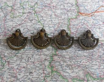 SALE! 4 small ornate fan shape 1930's Art Deco brass metal pull handles