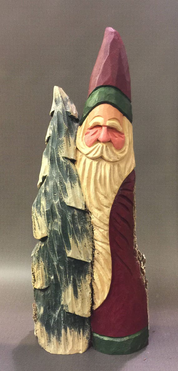 HAND CARVED original tall Santa with tree from 100 year old Cottonwood Bark.