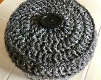 Gray Toilet Paper Cover Crochet with Black Button accent