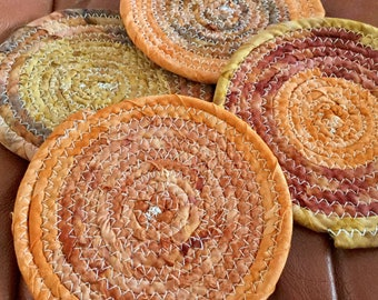 Batik Bohemian Coiled Fabric Coasters, Trivet, Mug Rug - tan, orange, brown  - Storage and Organization handmade