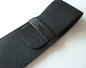Leather Pen Case, Black (2 pens)