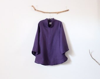 purple linen asian blouse size M ready to wear