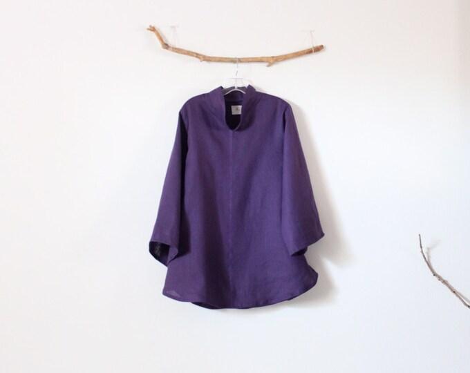 ready to ship purple linen asian blouse size M ready to wear / size M linen blouse / Asian blouse / Zen blouse / minimalist blouse / USA