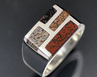 Silver Ring wit 4 Sections of Inlaid Dinosaur Bone