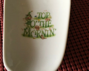 """Ceramic Spoon Rests 5"""" and 3 1/2 Wide at the Top  With  Top O' The Mornin"""