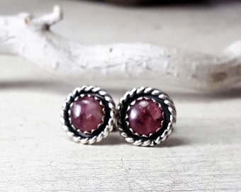 Pink Tourmaline Stud Earrings Sterling Silver Posts 6mm Stone Silversmith