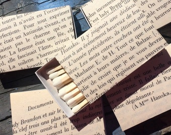 10 French Foreign Language Book Page Wrapped Matchbox Wedding Favors