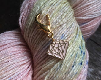 Pink Diamond Knitting Stitch Marker / Progress Keeper