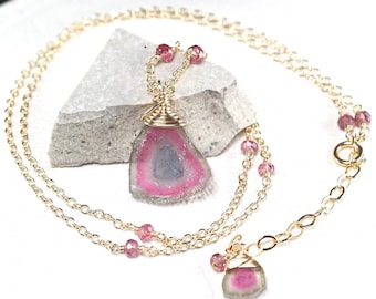 Watermelon Tourmaline necklace, Tourmaline slice pendant, Pink Tourmaline, 14k gold filled necklace, October Birthstone, Gift for Her