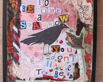 CROW & SPARROW - Primitive Folk Art Collage Wall Quilt - Reclaimed Recycled Scraps Materials Upcycled Altered Textile  - myBonny