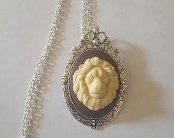 Lion, Lion necklace, Animal, Animal necklace, Cameo, Cameo necklace, Ready to ship