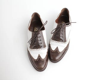 size 6.5 | Vintage Joan & David Leather Oxfords | Classic Two Tone Wingtip Shoes | Brown and White Leather Spectator Shoes | 37