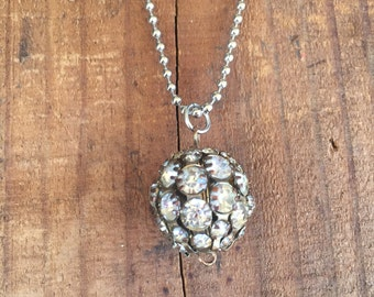 Charms on Chain, Vintage rhinestone disco ball bead on Base Metal Ball Chain, Upcycled Gifts under 20, Gifts for Her,