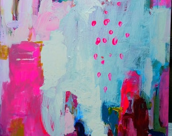abstract painting , navy blue, pink, aqua, turquoise