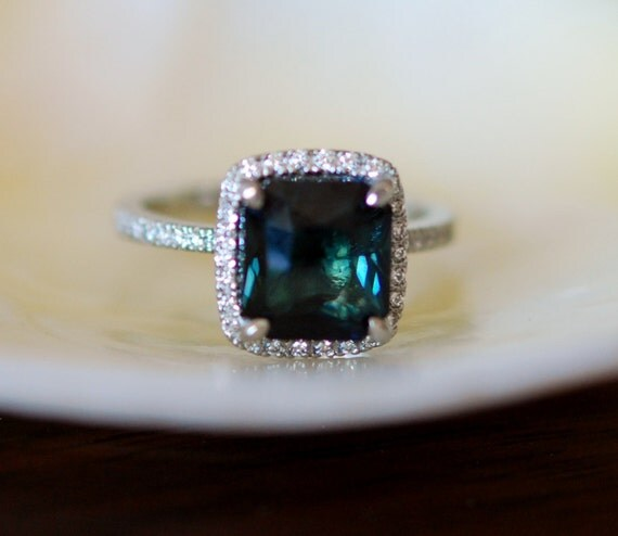 Peacock Blue Sapphire Ring White Gold Engagement Ring