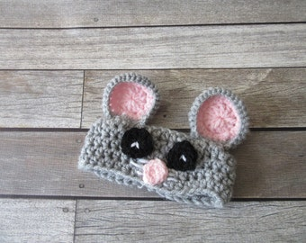Crochet Baby Headband, Baby Mouse Headband, Newborn Headband, Infant Headband, Headband for Baby Girls, Pink, Grey, Baby Gift