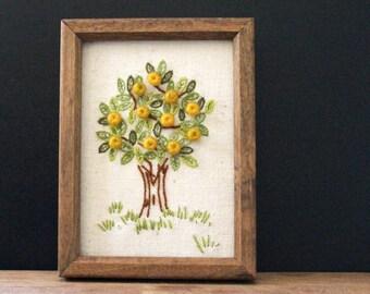 Apple Tree. Vintage 1970s crewel needlepoint picture.