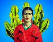 Frida Kahlo Cactus Modern Home Wall Decor Instant Digital Download Poster Print Minimalist Boho Portrait Aqua Blue Red Green All Sizes DIY