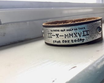 Recovery Date Leather and Silver Cuff Bracelet 12 Step Sobriety
