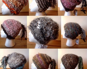 The Infinity cap with crochet swirl accents & tassel - corespun handspun lambswool mohair or vegan