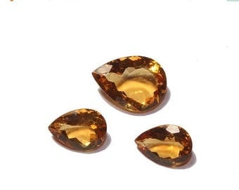 55% OFF SALE 3 Pcs Set AAA Natural Citrine Faceted Pear Cut Gemstones 10x7 - 13x9mm Approx Match Pair & a Focal Pendant- Citrine Trio Ct15
