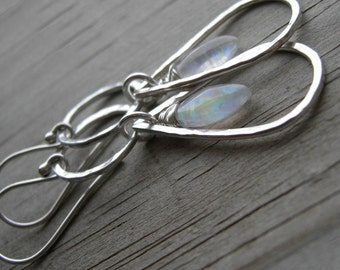 Rainbow Moonstone Hammered Sterling Silver Double Dangle Earrings June Birthstone