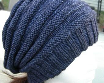 Merino slouchy accordion hat winter hand knit slouchy beanie violet purple