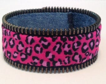 Zipper Bracelet - pink leopard print/denim - reversible