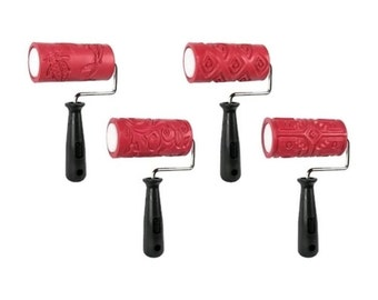 Textured Clay Rollers 8 pc. Set - 4 Sleeves & 4 Handles fnt