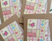 Quilt Note Card Set Vintage Quilting Quilter Cards Sew 4 Large Greeting Cards