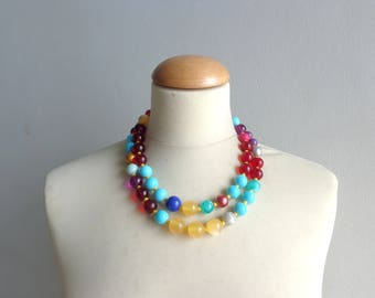 Colorful bib statement necklace