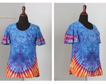 tie dye, xl ice dye, tye dye mary top by grateful dan dyes, ladies scoop neck mary top