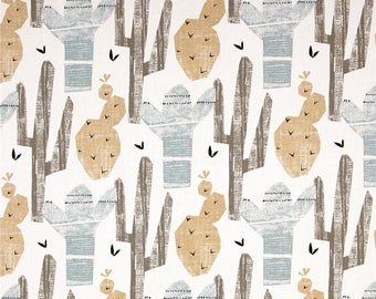 "Blue, Brown, and White Cactus Valance - 50"" x 16"" -Premier Prints Cactus Awendela Fabric"