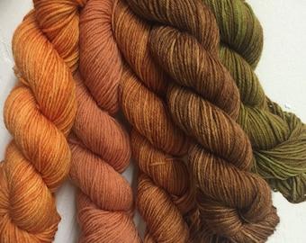 Pumpkin Spice --Huggy Sock Gradient Set - Fingering Weight - 120g - 575yds